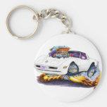 1980-82 Corvette White Car Basic Round Button Keychain