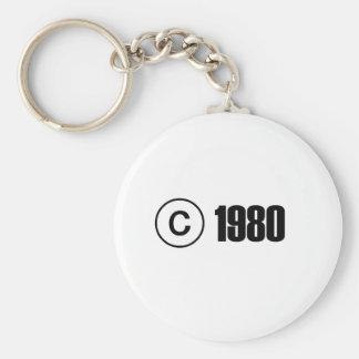 1980 Copyright Basic Round Button Keychain