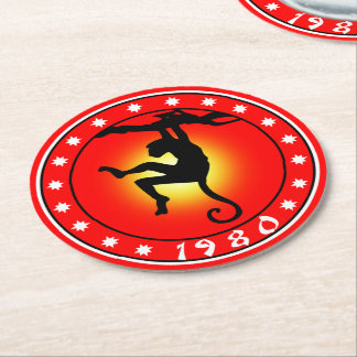 1980 Year of the Monkey Round Paper Coaster