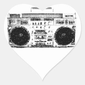 1980s Boombox Heart Sticker
