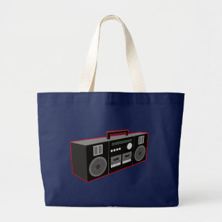 1980s Boombox Large Tote Bag