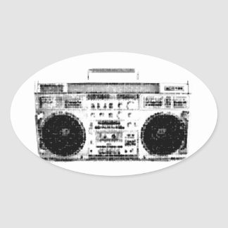 1980s Boombox Oval Sticker