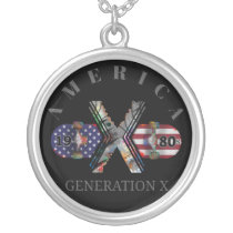 1980s Generation X American Skateboard Silver Plated Necklace