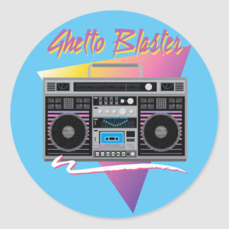 1980s ghetto blaster boombox classic round sticker