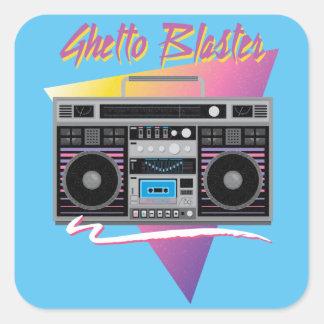 1980s ghetto blaster boombox square sticker