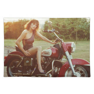 1980s Motorcycle Pinup Girl Placemat