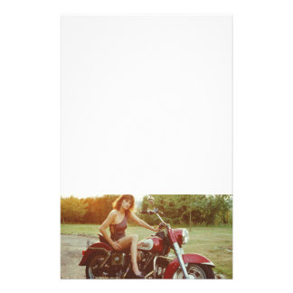 1980s Motorcycle Pinup Girl Stationery