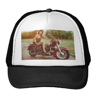 1980s Motorcycle Pinup Girl Trucker Hat