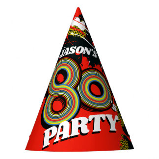 1980's party birthday graphic splat red name hat