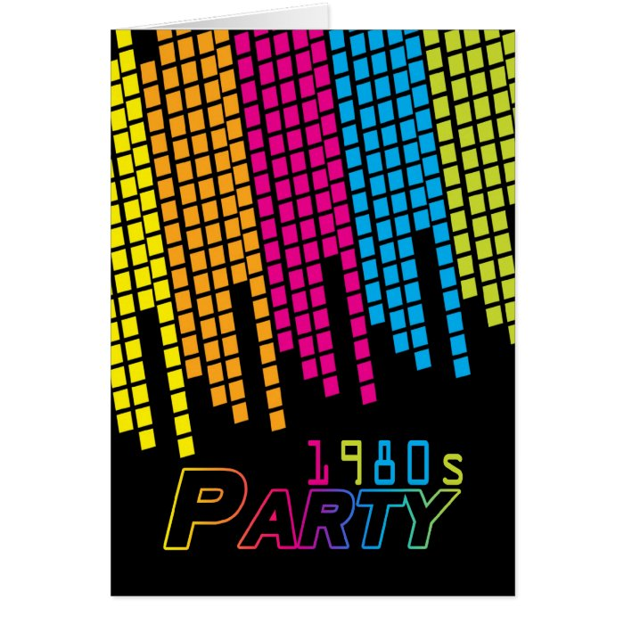 1980's Party Invitation Card With 80 color graphic