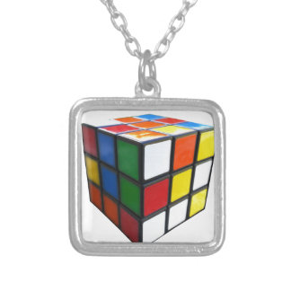 1980's Puzzle Cube Silver Plated Necklace