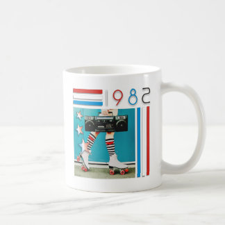 1980's Retro Boom Box and Roller Skates Design Coffee Mug