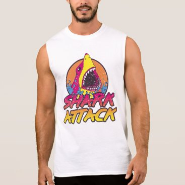 Beach Themed 1980's Retro Shark Attack Sleeveless Shirt
