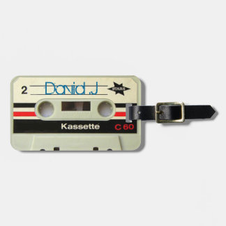 1980s Vintage geeky Retro cassette Travel Bag Tag
