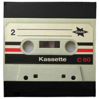 1980s Vintage geeky Retro cassette Printed Napkin
