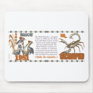 1981 1921Chinese zodiac metal rooster born Scorpio Mouse Pad