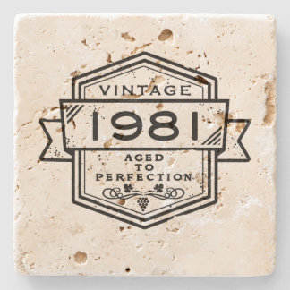 1981 Aged To Perfection Stone Beverage Coaster