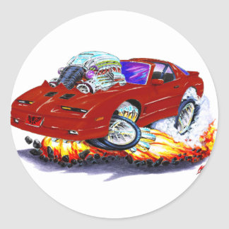 1982-92 Trans Am Maroon Car Round Stickers