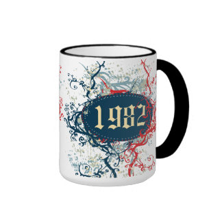 1982 Birthday Year or Since 1982 or Made in 1982 Ringer Coffee Mug