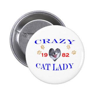 1982 Crazy Cat Lady Pinback Button