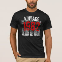 1982 Vintage - 30th Birthday Red Black White T-Shirt