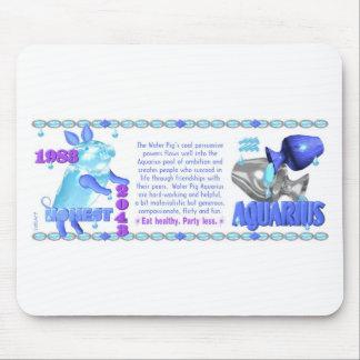 1983 2043 Chinese zodiac water pig born Aquarius Mouse Pad