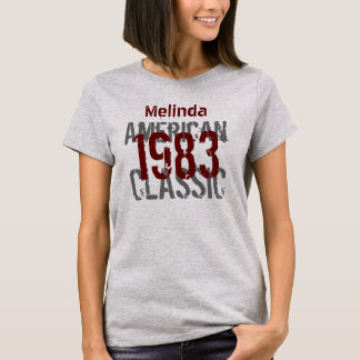 1983 Birthday Year American Classic Gray Red Y012 T-Shirt