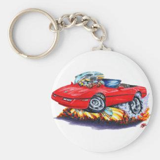 1984-93 Corvette Red Convertible Basic Round Button Keychain