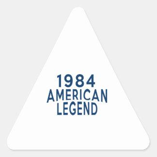 1984 diseños del cumpleaños de la leyenda del pegatina triangular