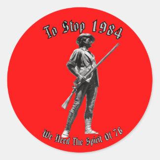 1984 or 1776? classic round sticker
