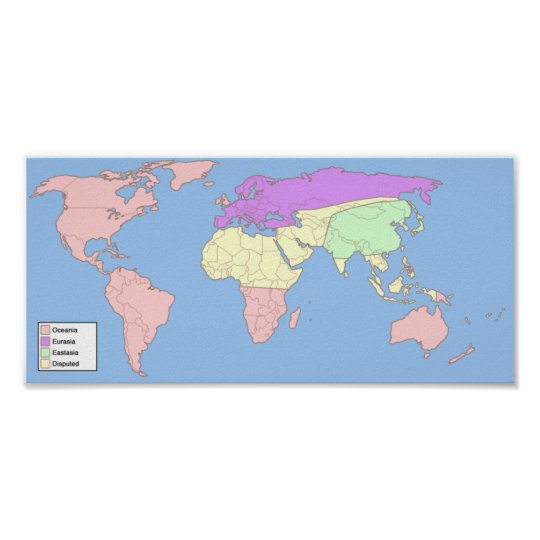 1984 World Map with key Poster | Zazzle.com