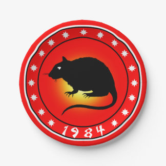 1984 Year of the Rat Paper Plate