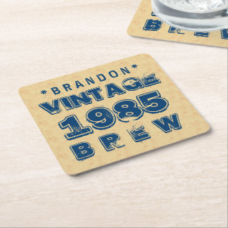 1985 30th or Any Birthday VINTAGE BREW Gold J30Z Square Paper Coaster