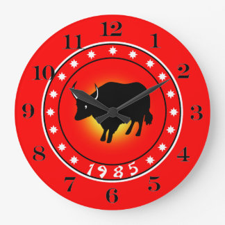 1985 años del buey reloj redondo grande