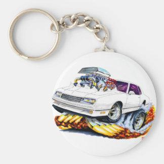 1986-88 Monte Carlo White Car Basic Round Button Keychain