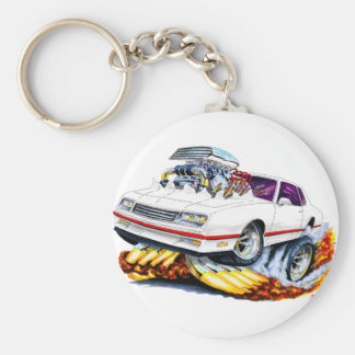 1986-88 Monte Carlo White-Red Car Basic Round Button Keychain