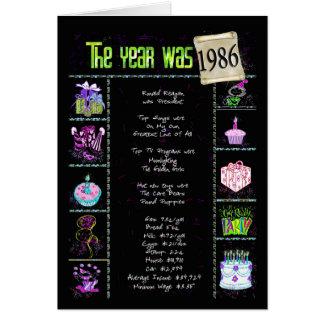 1986 Birthday Fun Facts Card
