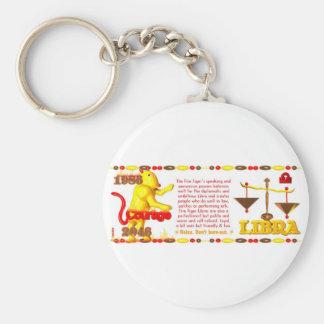 1986 Fire Tiger born Libra Basic Round Button Keychain