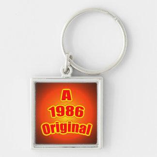1986 Original Red Silver-Colored Square Keychain