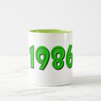 1986 TAZA DE CAFÉ DE DOS COLORES