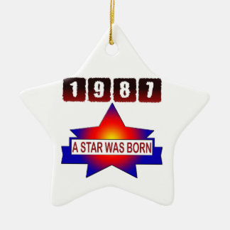 1987 A Star Was Born Double-Sided Star Ceramic Christmas Ornament