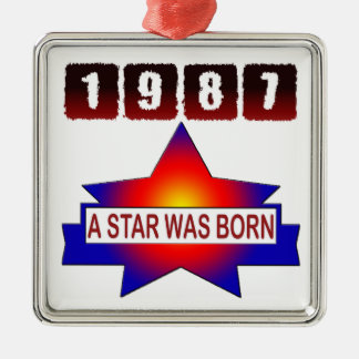 1987 A Star Was Born Square Metal Christmas Ornament