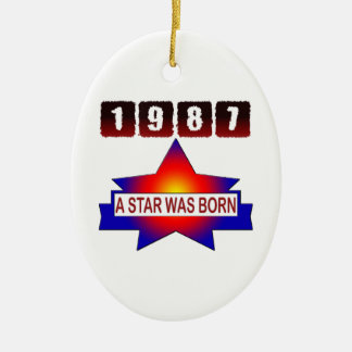 1987 A Star Was Born Double-Sided Oval Ceramic Christmas Ornament