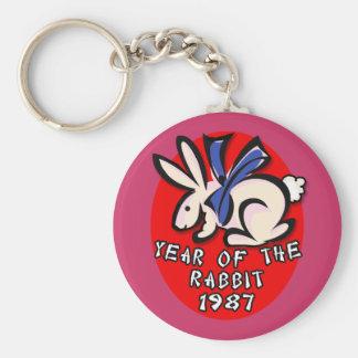 1987 años de la ropa y de los regalos del conejo llavero redondo tipo pin