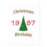 1987 Christmas Birthday Postcard