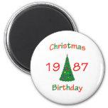 1987 Christmas Birthday Refrigerator Magnets