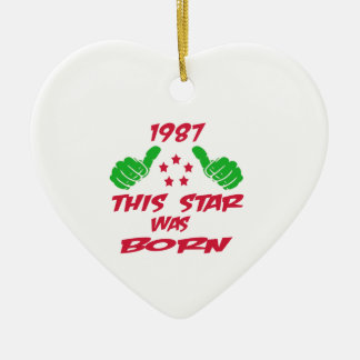 1987 this star was born Double-Sided heart ceramic christmas ornament