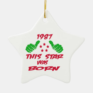 1987 this star was born Double-Sided star ceramic christmas ornament