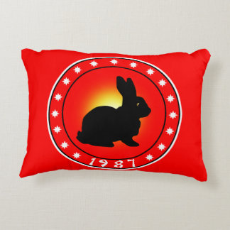 1987 Year of the Rabbit Accent Pillow
