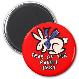 1987 Year of the Rabbit Apparel and Gifts 2 Inch Round Magnet